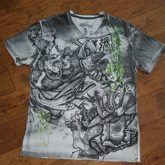 Men/'s Large L Affliction Live Fast Sport SS Shirt Gray Rise Above Graphic Tee